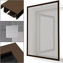 proheim Insektenschutz Fenster nach Maß in Braun Fliegengitter mit Alurahmen für Fenster Insektenschutzfenster Maßanfertigung fertig verpresst & montiert, Breite in mm:1000, Höhe in mm:1400, Gewebeart:Standardgewebe