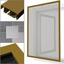 proheim Insektenschutz Fenster nach Maß in Hellbraun Fliegengitter mit Alurahmen für Fenster Insektenschutzfenster Maßanfertigung fertig verpresst & montiert, Breite in mm:800, Höhe in mm:1100, Gewebeart:Durchsichtgewebe