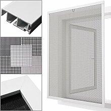 proheim Insektenschutz Fenster nach Maß in Weiß Fliegengitter mit Alurahmen für Fenster Insektenschutzfenster Maßanfertigung fertig verpresst & montiert, Breite in mm:1200, Höhe in mm:1400, Gewebeart:Durchsichtgewebe