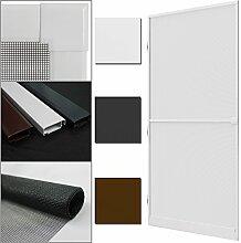proheim Insektenschutz-Tür Comfort 100 x 215 cm Alu-Rahmen + Fliegengitter sind kürzbar Premium Fliegenschutz: Dichtungsbürste Schließmechanismus Mittelsprosse Trittblech, Farbe:Weiß