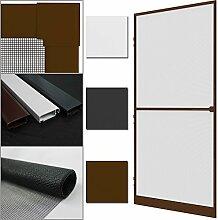 proheim Insektenschutz-Tür Comfort 100 x 215 cm Alu-Rahmen + Fliegengitter sind kürzbar Premium Fliegenschutz: Dichtungsbürste Schließmechanismus Mittelsprosse Trittblech, Farbe:Braun