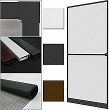 proheim Insektenschutz-Tür Comfort 100 x 215 cm Alu-Rahmen + Fliegengitter sind kürzbar Premium Fliegenschutz: Dichtungsbürste Schließmechanismus Mittelsprosse Trittblech, Farbe:Anthrazi