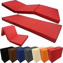proheim Klappmatratze mit Microfaserbezug viele Größen und Farben wählbar zusammenklappbares Gästebett Faltmatratze faltbares Notbett, Farbe:Rot, Größe:195 x 80 x 10 cm