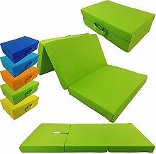 proheim Klappmatratze mit Microfaserbezug zusammenklappbares Gästebett Faltmatratze faltbares Notbett, Farbe:Apfelgrün, Größe:120 x 60 x 6 cm
