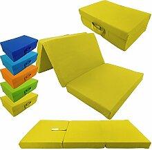 proheim Klappmatratze mit Microfaserbezug zusammenklappbares Gästebett Faltmatratze faltbares Notbett, Farbe:Gelb, Größe:120 x 60 x 6 cm