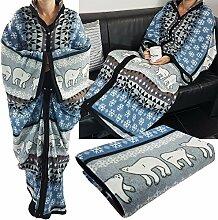 proheim Kuschel-Decke Cozy Bears mit Ärmeln 150 x 170 cm TV-Decke / Ärmel-Decke aus Microfaser kuschelige und wärmende Wohn-Decke, Farbe:Blau
