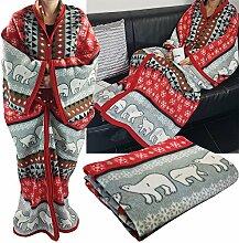proheim Kuschel-Decke Cozy Bears mit Ärmeln 150 x 170 cm TV-Decke / Ärmel-Decke aus Microfaser kuschelige und wärmende Wohn-Decke, Farbe:Ro