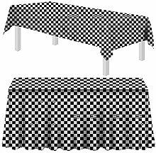 Prolso Schwarz-Weiß karierte Tischdecke aus