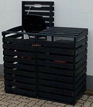 promadino Mülltonnenbox, für 2x120 l aus Holz,