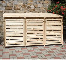 Promadino Mülltonnenbox für 3 Tonnen Natur, H