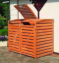 Promadino Mülltonnenbox Vario III für 2 Tonnen, honigbraun