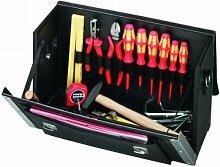 PROMAT 871657 Werkzeugtasche Rindleder Doppelwand HDPE 420x160x250mm PROMAT Alu.verstärk