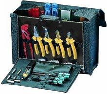 PROMAT 871659 Werkzeugtasche Rindleder schwarz 400x140x280mm PROMAT Bodenstahlblech