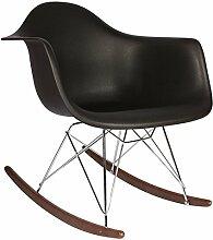 Promo 1Schaukelstuhl Stuhl Design Inspiration Schaukelstuhl RAR Füße aus lackiertem Holz Walnuss Sitzfläche mobistyl® mc-rardm-1a 1 x Noir