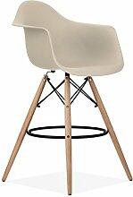 Promo 1x Sessel Hocker High-Bar Style DAW Füße aus lackiertem Holz Walnuss Sitzfläche mobistyl® mc-dawhd taupe