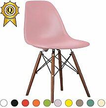 Promo 1x Stuhl Design Inspiration Eiffel Füße lackiertem Holz Walnuss Sitzfläche mobistyl® dswd-m-1 Pink