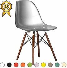 Promo 1x Stuhl Design Inspiration Eiffel Füße lackiertem Holz Walnuss Sitzfläche mobistyl® dswd-m-1 Silbergrau