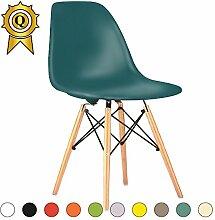 Promo 2x Stuhl Design Inspiration Eiffel Füße helles Holz Sitzfläche mobistyl® dswl-m-2 Ocean Blue