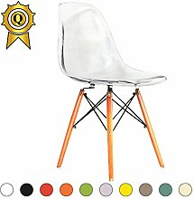 Promo 2x Stuhl Design Inspiration Eiffel Füße helles Holz Sitzfläche mobistyl® dswl-m-2 Transparent Clear