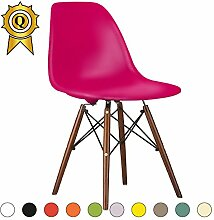 Promo 2x Stuhl Design Inspiration Eiffel Füße lackiertem Holz Walnuss Sitzfläche mobistyl® dswd-m-2 Fuschia Pink