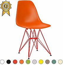 Promo 4x Stuhl Design Inspiration Eiffel Füße Stahl Nagellack rot Sitzfläche mobistyl® dsrr-m-4 Dark Orange
