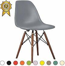 Promo 6x Stuhl Design Inspiration Eiffel Füße lackiertem Holz Walnuss Sitzfläche mobistyl® dswd-m-6 Dubkelgrau