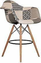 Promo Lot de 2x Sessel hoch-Bar Style DAW Füße helles Holz Sitzfläche PP–mobistyl® Patchwork Noir blanc