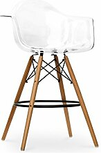 Promo Lot de 2x Sessel Hocker High-Bar Style DAW Füße aus lackiertem Holz Walnuss Sitzfläche mobistyl® mc-dawhd durchsichtig