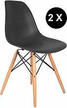 Promo Lot de 2x Stuhl Design Inspiration DSW Füße helles Holz Sitzfläche PP–mobistyl® mobi-dswl2 schwarz