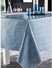 PROMOFLASH83 Tischdecke aus Wachstuch 140x 250Saigon blau Pfau