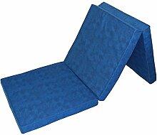 Prosanvita Klappmatratze in blau, ideale Faltmatratze für unterwegs, Notbett für Ihren Besuch, platzsparend zu verstauende Gästematratze, 195 x 65 cm