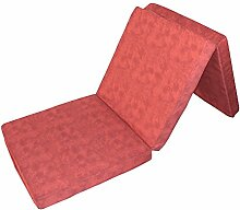 Prosanvita Klappmatratze in rot, ideale Faltmatratze für unterwegs, Notbett für Ihren Besuch, platzsparend zu verstauende Gästematratze, 195 x 65 cm