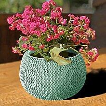 Prosperplast Blumentopf türkis grün Strickmuster