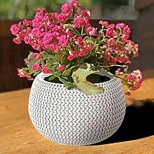 Prosperplast Blumentopf weiß Strickmuster