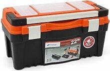 Prosperplast Stabiler Werkzeugkoffer Metall Griff Heimwerker 22 mit Kleinteilemagazin, 1 Stück, Firebird N22RPAA