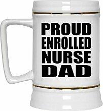 Proud Enrolled Nurse Dad - Beer Stein Bierkrug