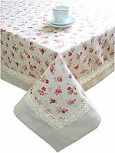 Provence Baumwolle Tischdecke mit Baumwolle Spitze