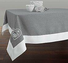 Provence-Tischdecke, Grau-weiß, Bestickt,