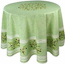 Provence-Tischdecke Maussane grün, rund ca. 180
