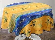 Provence-Tischdecke Olivio, blau-gelb, rund ca.
