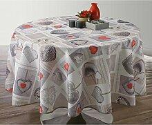 Provencestoffe.com ANGEBOT Runde Tischdecke mit Herzen, Lotuseffekt, abwischbar, 180 cm Durchmesser