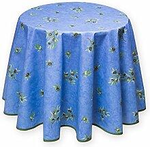 Provencestoffe.com Runde Tischdecke blau Oliven