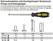 Proxxon Flex-Dot-Schraubendreher mit Schlagkappe Schlitz SL 1.2 x 6.5 x 150, 1 Stück, 22104
