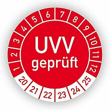 Prüfplaketten - UVV geprüft / 2020-2025 - rot -