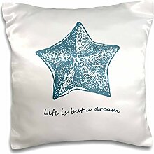 PS Inspirations - Life is A Dream starfish beach theme shells ocean - 16x16 inch Pillow Case (pc_130520_1)