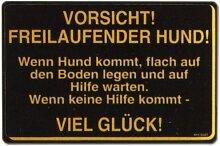 PST-Schild - VORSICHT ! FREILAUFENDER HUND ! - .... Schild Warnschild Warnzeichen Arbeitssicherheit Türschild Tür Kunststoff Geschenk Geburtstag