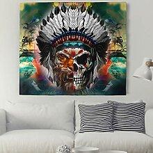 Psychedelic Totenkopf Tiger Wandteppich Indisch