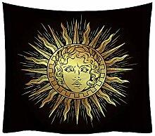 Psychedelisch Himmlisch Sonne und Mond Wandteppich