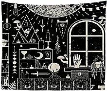 Psychedelisch Schwarz Magisch Zimmer Wandteppich
