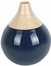 PT Dekorative Vase Bamboo Bell groß dunkelblau,